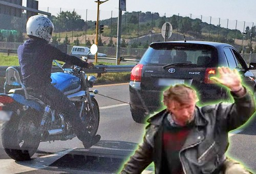 Holowała pijanego motocyklistę za samochodem. Policjanci nie mogli uwierzyć w to, co widzą