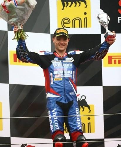 Alex Lowes na podium sbk assen 2014