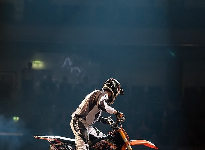 rider on night of the jumps
