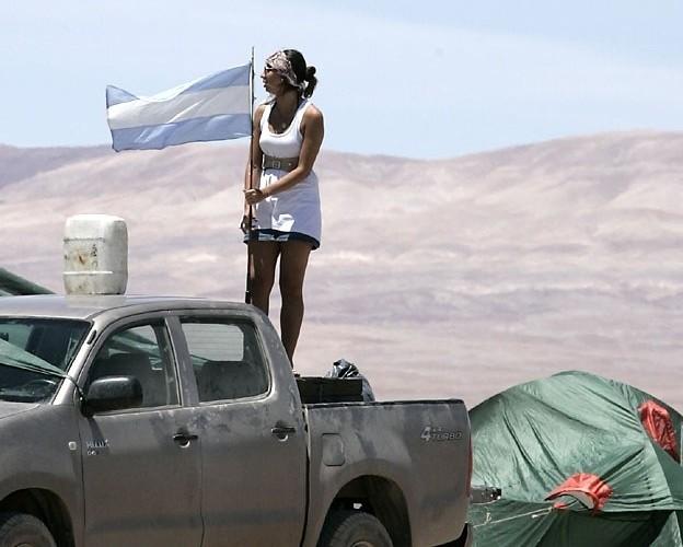 Argentynscy kibice na trasie-rajdu Dakar 2010